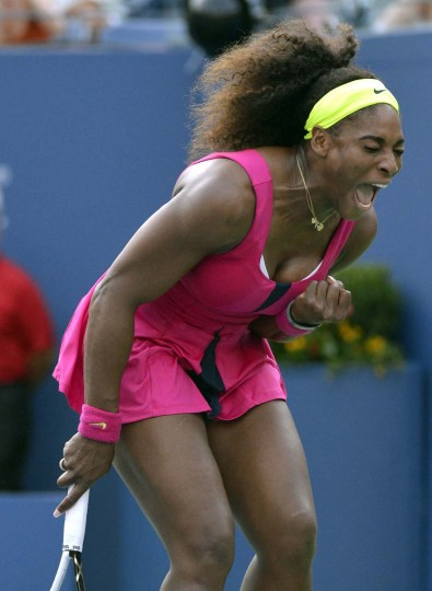 Serena Williams of the US reacts on court against Maria Jose Martinez Sanchez from Spain during their 2012 US Open match at the USTA Billie Jean King National Tennis Center in New York. (Timothy A. Clary/GettyImages)