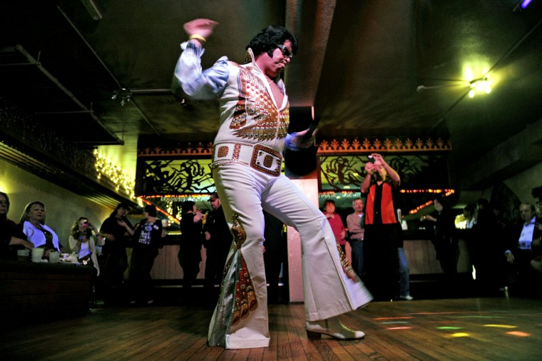 December 3, 2011: Dan Barrella, of Staten Island, New York, performed at the annual Night of 100 Elvises at the Lithuanian Hall. (Colby Ware/Baltimore Sun)