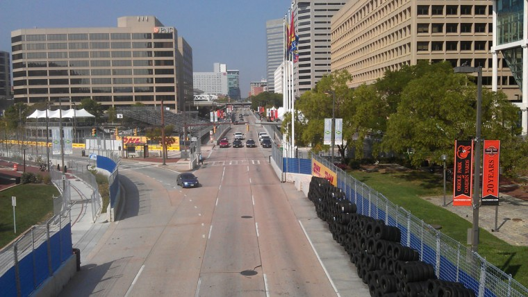 Aug. 30: View of the track setup looking west down Pratt Street and Light Street. (Gene Sweeney, Jr./Baltimore Sun)