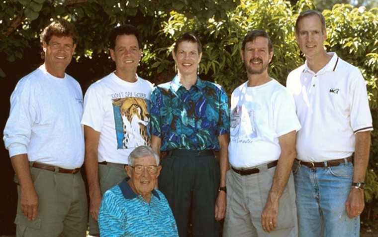 A photo of the Henn family in 2000. From left, Donald, Bruce, Joan, John (born 17 months prior to the quads) and Tom Henn with their father, Charles. Donald, Bruce, Joan and Tom are quadruplets. Joan succumbed to cancer less than three months later. (Family photo)