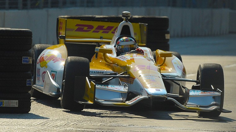Aug. 31: IndyCar series driver Ryan Hunter-Raey drives on track for his afternoon practice session, after a temporary Chicane was installed on Pratt Street by Howard and Light Streets. This was needed because the cars were getting airborne over the tracks. (Gene Sweeney Jr./Baltimore Sun)