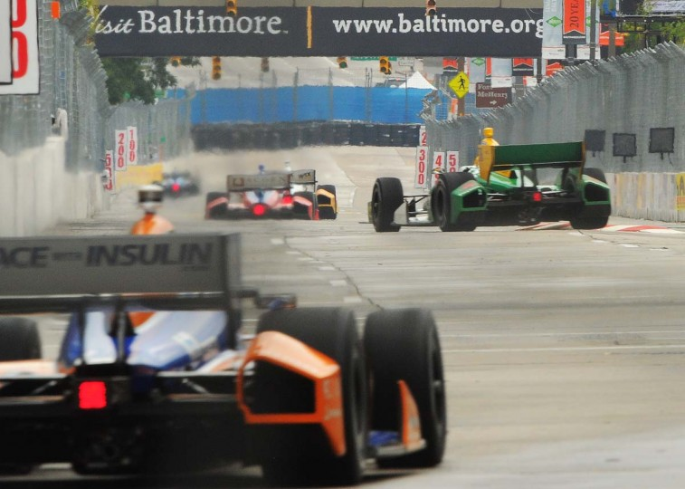 The view down Pratt Street as IndyCar drivers warm up on Saturday morning. (Gene Sweeney Jr./Baltimore Sun Photo)