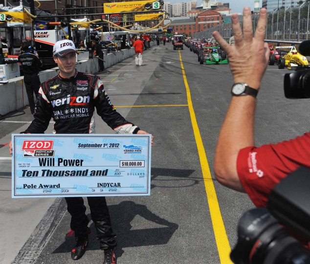 Grand Prix of Baltimore pole winner Will Power poses for a photographer. (Gene Sweeney Jr./Baltimore Sun Photo)