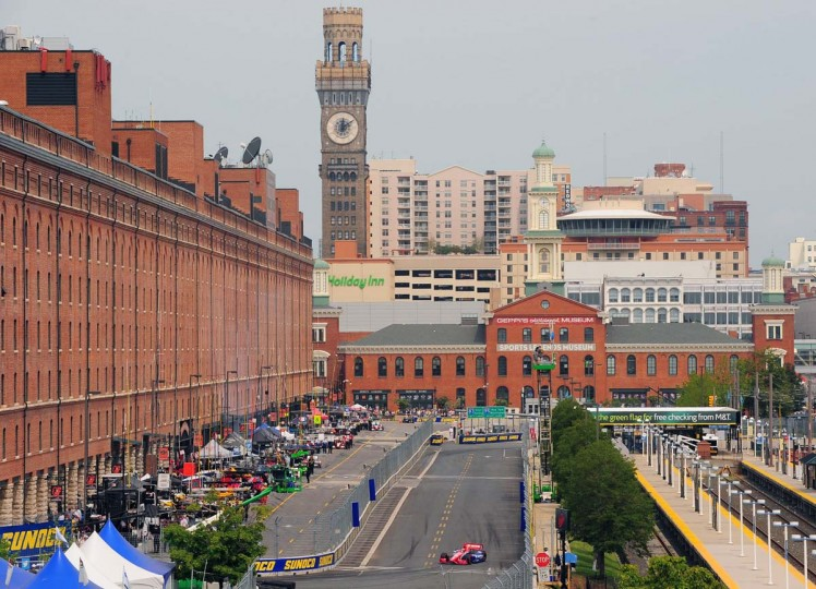 The IndyCar qualifying session takes place on Saturday with downtown Baltimore in the background. (Gene Sweeney Jr./Baltimore Sun Photo)