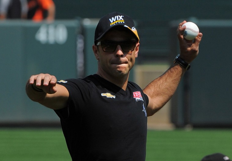 Aug. 30: IndyCar driver Oriol Servia, who is in town for the Grand Prix of Baltimore, threw out the ceremonial first pitch before Baltimore's afternoon game at Camden Yards. The Chicago White Sox take on the Baltimore Orioles at Camden Yards. (Gene Sweeney Jr./Baltimore Sun)