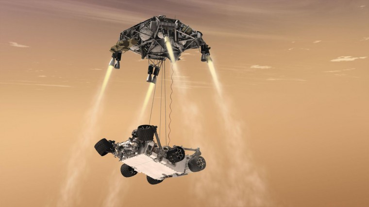 This artist's concept shows the sky crane maneuver during the descent of NASA's Curiosity rover to the Martian surface. By the time the robotic Mars laboratory streaks into the thin Martian atmosphere at hypersonic speed on Sunday night, the spacecraft will be in charge of its own seven-minute final approach to the surface of the Red Planet. (NASA-JPL/Handout/Reuters)