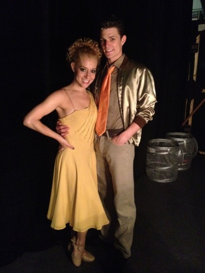 Courtney and Nick backstage in their 'Dance At the Gym' costumes