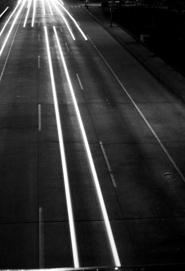 A long exposure of E. Pratt Street. (Joe Sterne)
