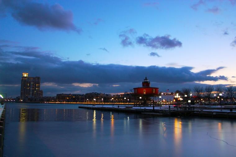 Sunset over the Inner Harbor in winter. (Joe Sterne)