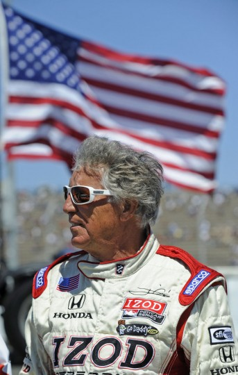 Retired IndyCar driver Mario Andretti stands near the starting line before the start of the Indy Grand Prix of Sonoma at Sonoma raceway in Sonoma, California, on Sunday, August 26, 2012. (Jose Carlos Fajardo/Contra Costa Times/MCT)