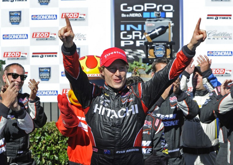 IndyCar driver Ryan Briscoe (2) celebrates in winner's circle after winning the Indy Grand Prix of Sonoma at Sonoma raceway in Sonoma, California, on Sunday, August 26, 2012. Will Power placed second and Dario Franchitti placed third. (Jose Carlos Fajardo/Contra Costa Times/MCT)