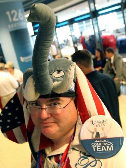 Mike Lachs of New Jersey proudly wears his Republican headgear at the Republican National Convention at the Tampa Bay Times Forum in Tampa, Florida, Tuesday, August 28, 2012. (Louis DeLuca/Dallas Morning News/MCT)