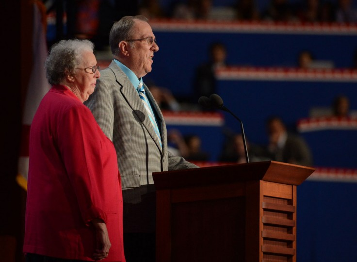 Ted and Pat Oparowski of New Hampshire speak before the delegation at the 2012 Republican National Convention in the Tampa Bay Times Forum in Tampa, Florida. (Tiffany Tompkins-Condi/Bradenton Herald/MCT)