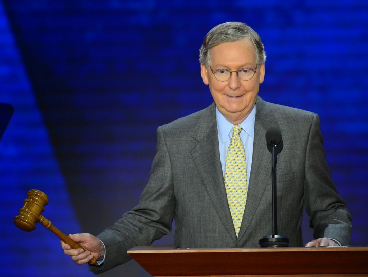 Sen. Mitch McConnell (R-KY) speaks at the Republican National Convention at the Tampa Bay Times Forum in Tampa, Florida, Tuesday, August 28, 2012. (Harry E. Walker/MCT)