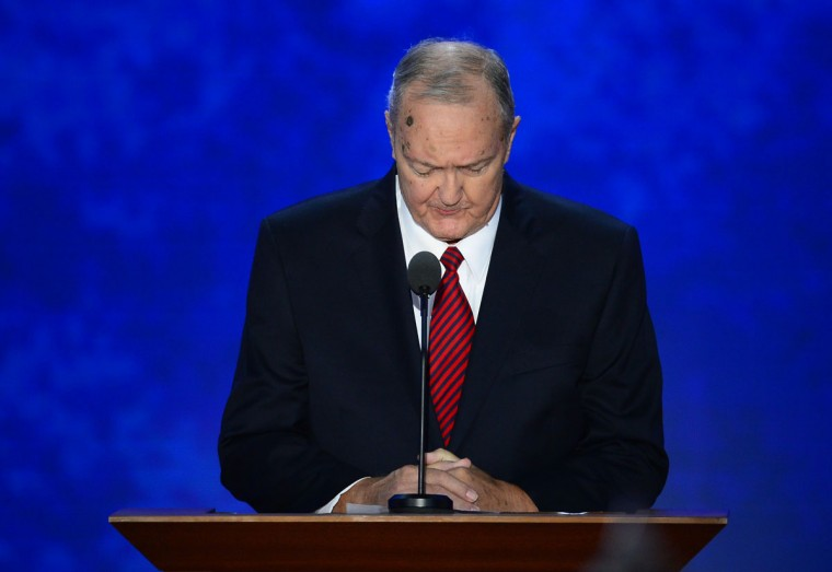 Ken Hutchins of the Church of Jesus Christ of Latter Day Saints in Massachusetts, gives the invocation at the 2012 Republican National Convention in the Tampa Bay Times Forum in Tampa, Floria. (Harry E. Walker/MCT)