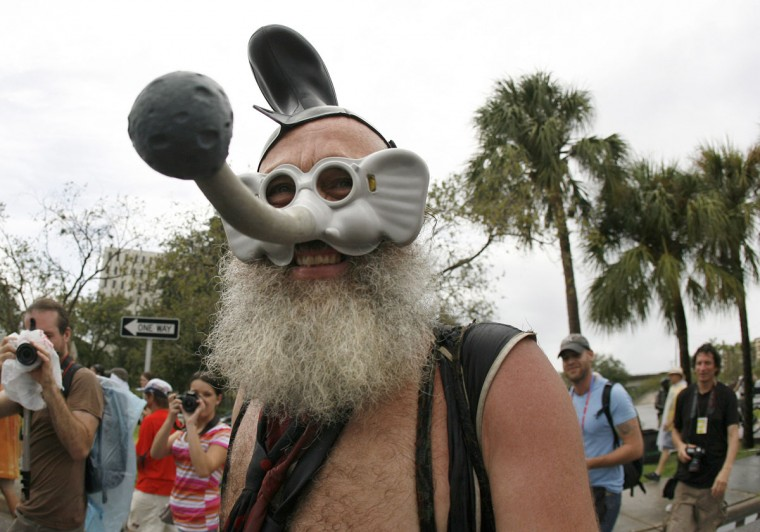 Vermin Supreme, 62, from Baltimore, wears his elephant mask as he marches along with fellow protesters during the March For Your Life rally in Tampa, Florida, Monday, August 27, 2012. (Dirk Shadd/Tampa Bay Times/MCT)