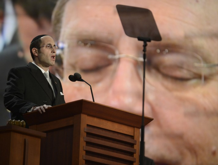 Rabbi Meir Soloveichik delivers the invocation at the second session of the 2012 Republican National Convention at the Tampa Bay Times Forum in Tampa. (Lionel Hahn/Abaca Press/MCT)