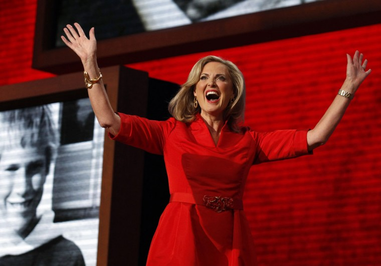 Ann Romney waves to delegates on Tuesday, August 28, 2012, at the Tampa Bay Times Forum in Tampa, Florida on the first full day the Republican National Convention. (Brian Cassella/Chicago Tribune/MCT)