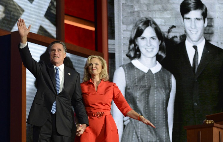 Mitt Romney and his wife Ann acknowledge the crowd from on stage at the second day of the Republican National Convention in Tampa, Florida, Tuesday, August 28, 2012. (Lionel Hahn/Abaca Press/MCT)