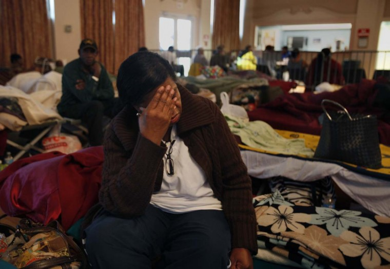 Janette Taylor waits for Hurricane Isaac to approach at Belle Chasse Auditorium, in Plaquermines Parish, in New Orleans, Louisiana. The area where she lives is under mandatory evacuation. (Carolyn Cole/Los Angeles Times/MCT)