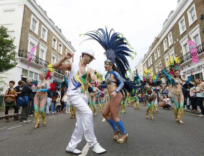 Performers dance at the Notting Hill Carnival in west London August 27, 2012. (Olivia Harris/Reuters)