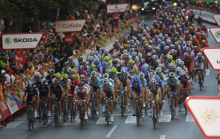"A pack of riders cycles during the fifth stage of the Tour of Spain ""La Vuelta"" cycling race in Logrono. (Felix Ordonez/Reuters)"