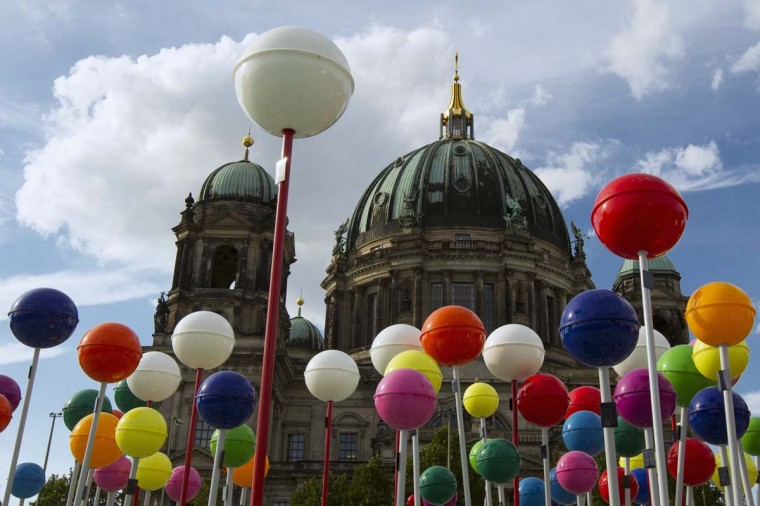 The Berlin Cathedral is seen behind pins that mark landmarks on a giant map of the city of Berlin drawn on the concrete square in Berlin. The 50 by 50 metre (164 by 164 feet) map, at a scale of 1:775, will be opened to public on August 25 as part of celebrations marking Berlin's 775th anniversary. (Thomas Peter/Reuters photo)