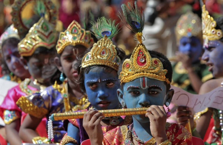 "School children dressed as Hindu Lord Krishna take part in a function held ahead of ""Janamashtmi"" celebrations in the southern Indian city of Chennai. Janamashtmi is the birth anniversary of Lord Krishna which will be celebrated on August 10. (Babu /Reuters)"
