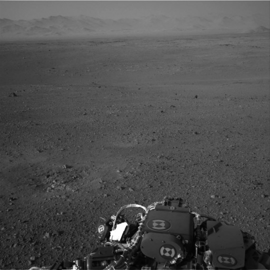 August 8, 2012: The Martian horizon is seen by a camera onboard NASA's Mars rover Curiosity. The primary mission of Curiosity, touted as first fully equipped mobile laboratory ever sent to another world, is to search for evidence that the planet most similar to Earth now harbors, or once hosted, the key ingredients necessary for the evolution of microbial life. (NASA/Handout/Reuters)