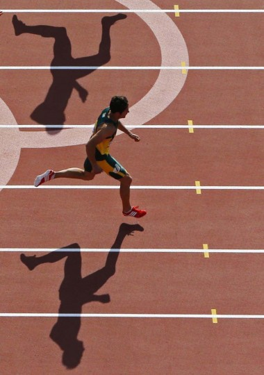 South Africa's Willem Coertzen competes in his men's decathlon 110m hurdles heat at the London 2012 Olympic Games at the Olympic Stadium. (Pawel Kopczynski/Reuters photo)