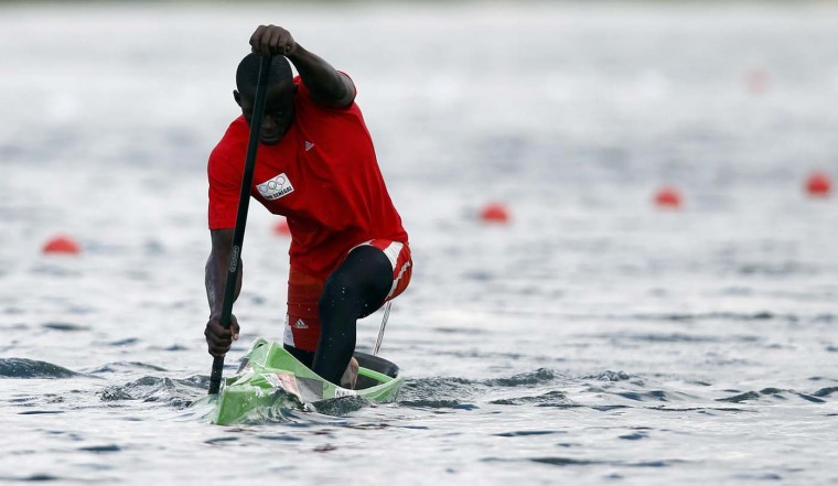 Senegal's Ndiatte Gueye competes in the men's canoe single (K1) 1000m semifinal at the Eton Dorney during the London 2012 Olympic Games August 6, 2012. (Jim Young/Reuters)