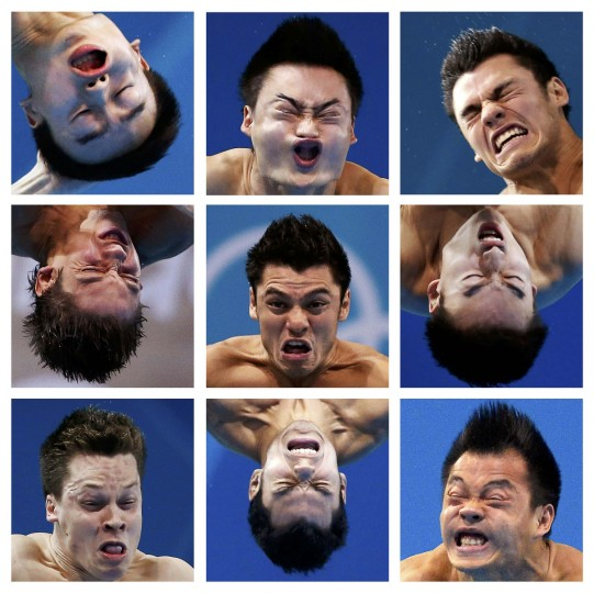 A combination picture shows close-ups of divers' faces during the London 2012 Olympic Games. Athletes shown are, top row (L to R) China's Qin Kai, China's Qin Kai, Mexico's Yahel Castillo Huerta .Middle row (L to R) Ukraine's Illya Kvasha, Mexico's Yahel Castillo Huerta, China's Qin Kai. Bottom row (L to R) Germany's Patrick Hausding, Mexico's Yahel Castillo Huerta, china's He Chong. Pictures taken on various dates since the start of the Games. (Reuters)