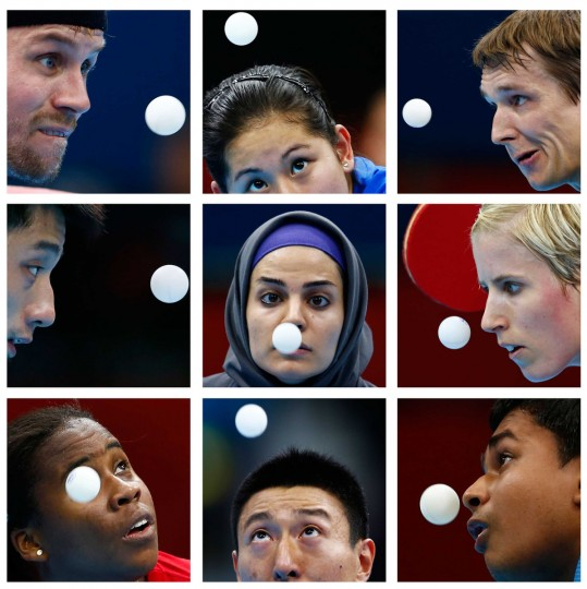A combination picture shows table tennis players watching the ball during the London 2012 Olympic Games. Players are, top row (L to R), Denmark's Michael Maze, Brazil's Caroline Kumahara, Austria's Werner Schlager. Middle row (L to R) China's Zhang Jike, Iran's Neda Shahsavari, Germany's Kristin Silbereisen. Bottom row (L to R) Colombia's Paula Medina, South Korea's Oh Sangeun, India's Soumyajit Ghosh. Pictures taken on various dates since the start of the Games. (Reuters)