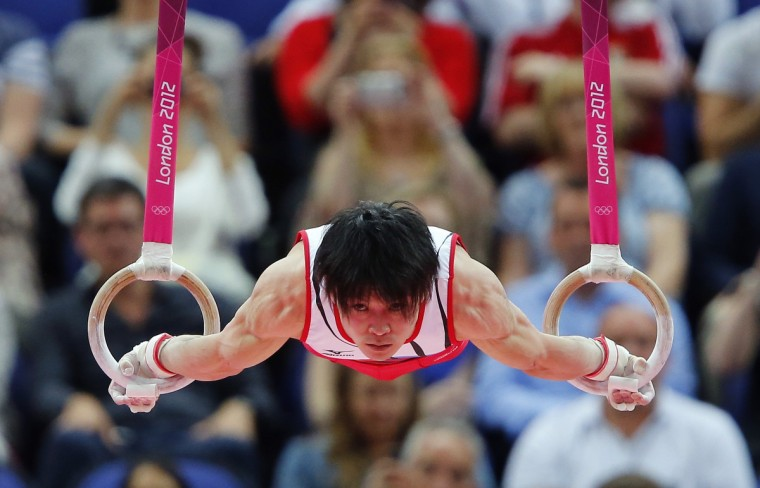 Kohei Uchimura of Japan competes in the rings during the men's individual all-around gymnastics final in the North Greenwich Arena during the London 2012 Olympic Games (Mike Blake/Reuters)
