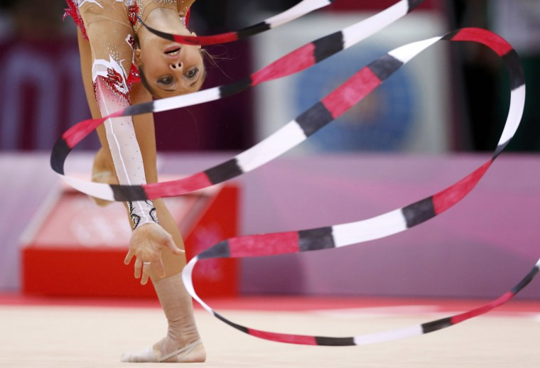 Bulgaria's Silviya Miteva competes using the ribbon in her individual all-around gymnastics qualification match at the Wembley Arena during the London 2012 Olympic Games. (Jorge Silva/Reuters)