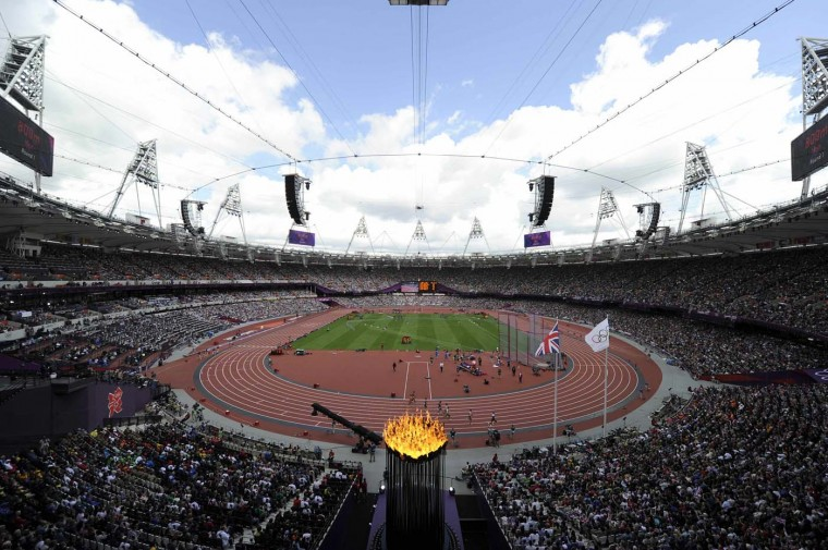 The Olympic flame burns in the Olympic Stadium during the London 2012 Olympic Games, August 6, 2012. (Paul Hackett/Reuters)