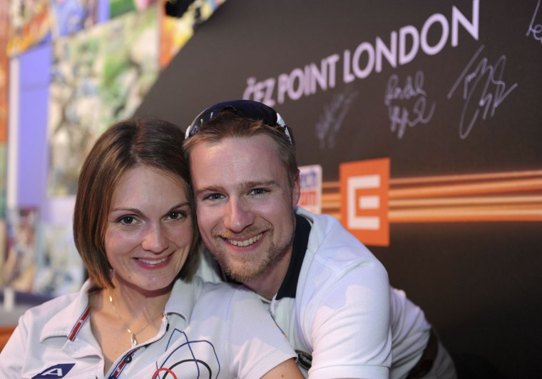 Katerina Emmons of the Czech Republic (L) poses for a photograph with her husband, U.S. shooter Matt Emmons, at the Czech House, Islington, in London July 28, 2012. (Paul Hackett/Reuters)