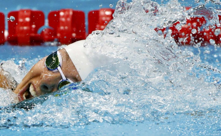 Lauren Boyle of New Zealand swims in her women's 800m freestyle heat during the London 2012 Olympic Games at the Aquatics Centre August 2, 2012. (David Gray/Reuters)