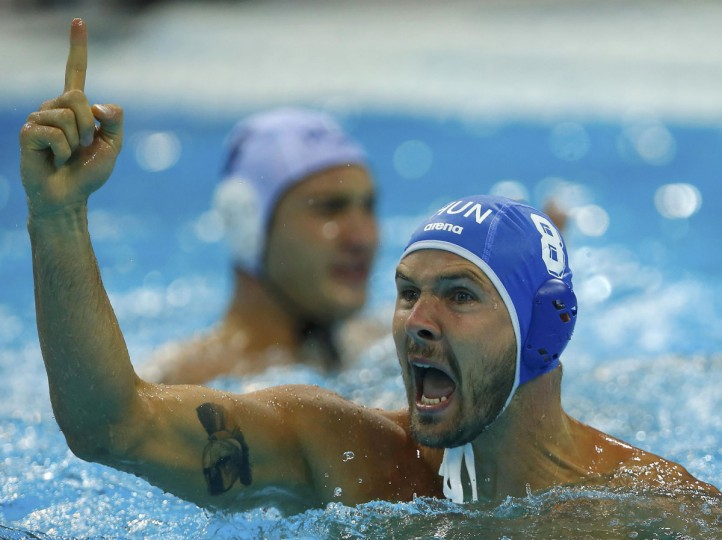 Hungary's Marton Szivos reacts during their men's preliminary round Group B water polo match against Romania at the London 2012 Olympic Games at the Water Polo Arena August 2, 2012. (Laszlo Balogh/Reuters)