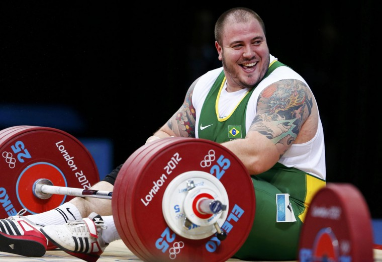 Brazil's Fernando Saraiva Reis reacts after failing a lift in the men's +105kg Group B snatch weightlifting competition at the ExCel venue during the London 2012 Olympic Games August 7, 2012. (Grigory Dukor/Reuters)