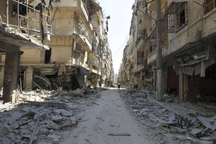 A general view shows a street after clashes between Free Syrian Army fighters and forces loyal to Syria's President Bashar Al-Assad, in Salah Edinne district, in the centre of Aleppo August 9, 2012. (Zohra Bensemra/Reuters)