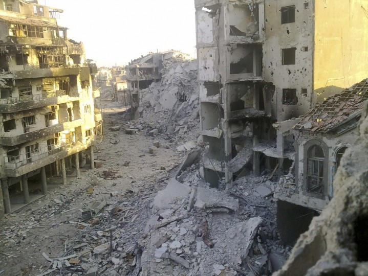 A general view of damaged buildings in Juret al-Shayah in Homs August 12, 2012. (Shaam News Network/Reuters)