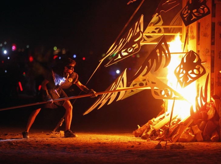 """Artwork that is part of the Circle of Regional Effigies is burned during the Burning Man 2012 """"Fertility 2.0"""" arts and music festival. (Jim Urquhart/Reuters)"""