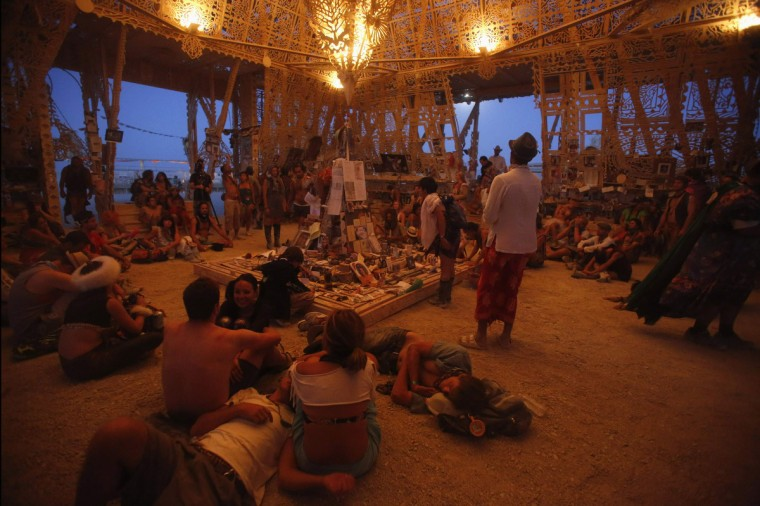 People rest while others pray or meditate in the Temple of Juno during Burning Man 2012. (Jim Urquhart/Reuters)
