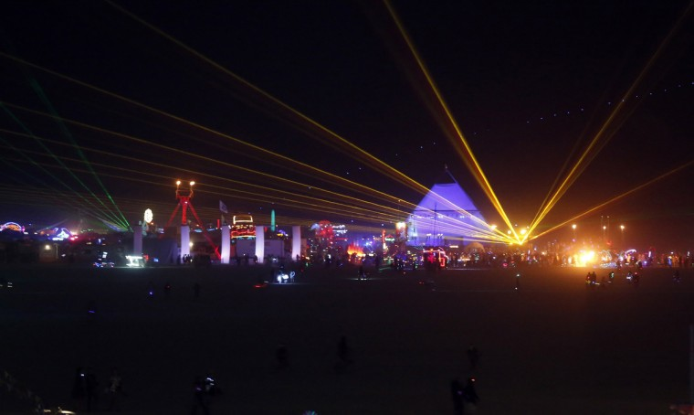 """The Playa comes to life at night during the Burning Man 2012 """"Fertility 2.0"""" arts and music festival in the Black Rock Desert of Nevada. (Jim Urquhart/Reuters)"""