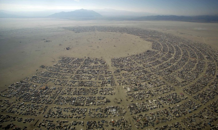 "An aerial view shows the Burning Man 2012 ""Fertility 2.0"" arts and music festival in the Black Rock Desert of Nevada. (Jim Urquhart/Reuters)"