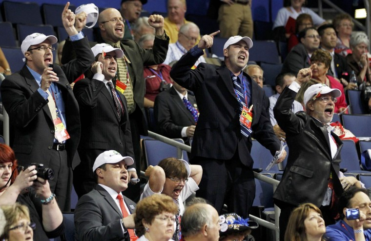 Alternate delegates from Maine scream and protest new Republican party rules that will affect the impact of grassroots movements during the second day of the Republican National Convention in Tampa, Florida. (Jason Reed/Reuters)
