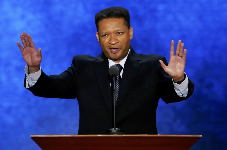 Former U.S. Rep. Artur Davis, who delivered a nominating speech for President Barack Obama at the Democratic National Convention in 2008, discusses his support of Republican presidential nominee Mitt Romney as he addresses the second session of the Republican National Convention in Tampa, Florida, August 28, 2012. (Mike Segar/Reuters)