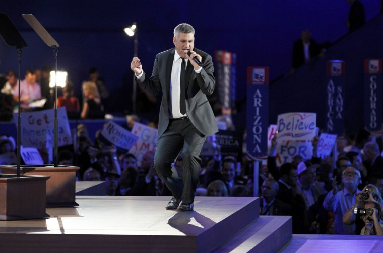 "Taylor Hicks sings ""Taking it to the Street"" during the final session of the Republican National Convention in Tampa, Florida. (Joe Skipper/Reuters)"