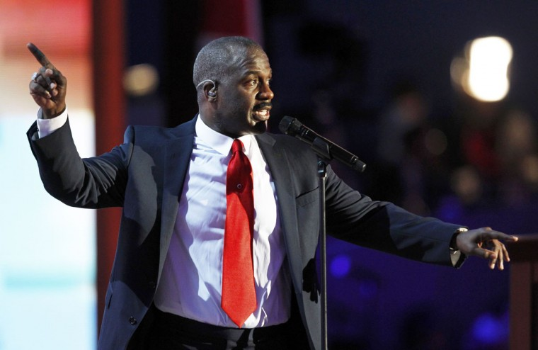 Bebe Winans and choir perform during the final session of the Republican National Convention in Tampa, Florida. (Joe Skipper/Reuters)